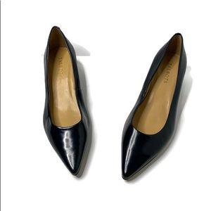 Talbots Black Leather Pointed Kitten Heel Pumps